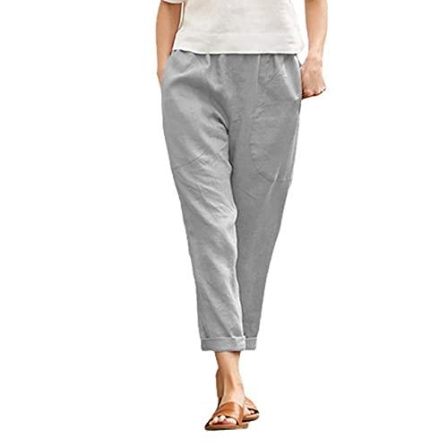 Pantaloni Casual in Cotone E Lino da Donna di Moda Taglie Forti Pantaloni A Nove Punte in Tinta Unita da Donna Pantaloni Larghi da Donna Harem