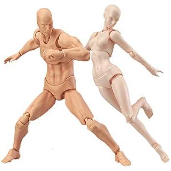 デッサン人形 モデル人形 PVC 可動式 男と女 (Color : A+b)