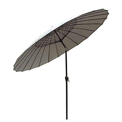 Sombrilla Terraza Parasol Jardin Gris Redondo 2,7 M / 9 Pies Sombrilla de Jardín, Patio Exterior Paraguas de Mesa con Botón de Inclinación, UV50 + Resistente a La Decoloración Sunbrella para Pool Beac