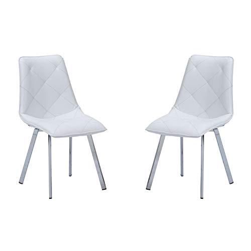 Adec - Diamond, Pack de 2 sillas de Comedor salón o Cocina, Acabado en símil Piel Color Blanco, Me