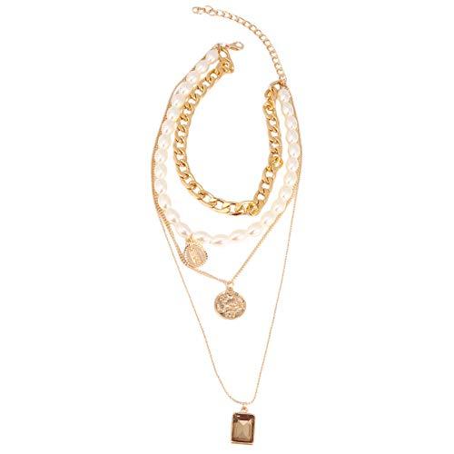 LPOQW Collar de múltiples capas para mujer, perlas de simulación, monedas vintage, piedras preciosas, elegante gargantilla para mujeres y niñas, accesorios de joyería regalos