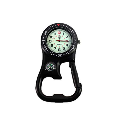 Hemobllo Clip-On Uhr Karabiner Uhr Backpacker Uhr leuchtende Taschenuhr mit Kompass Flaschenöffner für Bergsportausrüstung (schwarz)