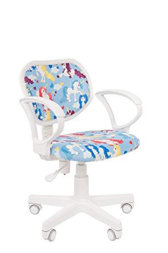 CHAIRJet Schreibstuhl Kinder Rollen Bürostuhl - Jugenddrehstuhl – Kinderschteibtischstuhl Armlehnen - Schreibtischsessel Kinderdrehstuhl Stoff Leicht 106 (Einhörner, mit Armlehnen)