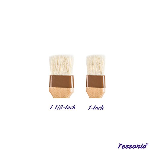 Set of 2 Pastry Brushes, 1-Inch and 1 1/2 -Inch Width Pastry Brushes with Boar Bristles and Lacquered Hardwood Handles, Grill BBQ Sauce Baster Baking Cooking Marinade Brushes