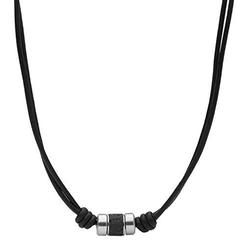 Fossil Cadena de acero inoxidable para mujer, color negro, JF03690040