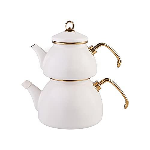 Karaca Retro Emaille Teekannen Set, Creme, Induktion, Teekocher, Wasserkocher, Teeaufguss 1,1L, Wasserkanne 2,3L, Türkische Teekanne, Tea Maker, Caydanlik, Demlik