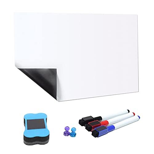 Sharplace Pizarra Blanca Magnética Suave Autoadhesiva para Niños, Dibujo, Escritura con Rotulador Y Borrador para Sala de Juegos para Niños Pequeños - 297x210 mm