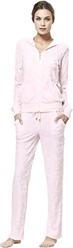 Baveno Bambou Set Pyjama pour Femme avec Capuche, Motif Papillon Rose, 105 x 40 cm