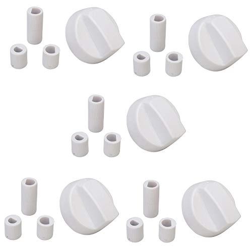5x Universal Weiß Drehknopf Drehgriff Knebel mit Adaptern Herd Kochfeld Backofen, Einstellknopf für alle Marken und Modelle von Öfen & Herden