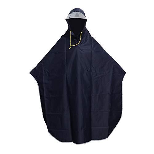 Vorcool Regen-Poncho mit Kapuze, winddicht, Regenjacke, mit transparenter Kappe, Marineblau