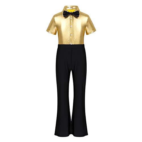 iiniim Jungen Tanzkleidung Kurzarm Bodysuit Overall Metallic Jumpsuit mit Krawatte Lange Jazzpants Schlaghose Latein Rumba Tango Party Performance Gold 152