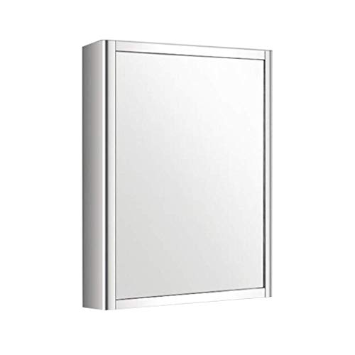 MJK Espejo de pared, gabinetes con espejo Baño Espejo de pared para baño con estante Inodoro de acero inoxidable Maquillaje de inodoro,Blanco (r),45 * 13 * 60cm