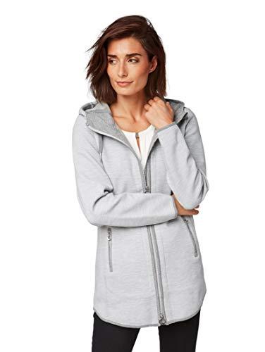 TOM TAILOR Damen Lange Sweatjacke mit Kaputze im Ottomandesign Sweatshirt, Grau (Silver Melange 2527), Small (Herstellergröße: S)
