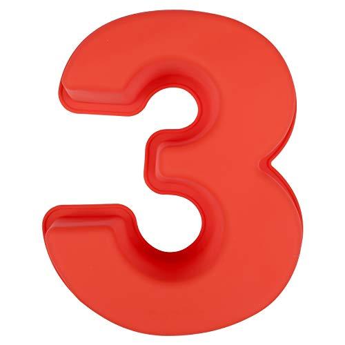 LIHAO Stampi per Torte in Silicone, Stampi con Forme Particolari, Stampi Numeri Grandi per Compleanno Matrimonio-Numeri 3