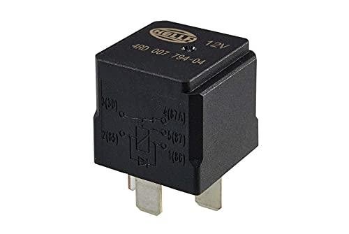 HELLA 4RD 007 794-041 Relais, courant de travail - 12V - 5pôle - Schéma de câblage: W3 - Fiche: B1 - Ouvreur/Relais à courant de travail/Relais inverseurs - Couleur: noir - sans fixation