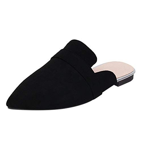 Mule Slides, Womens Backless Slip On Loafers Pointed Toe Slipper Sandals Shoes (Black -4, 7)