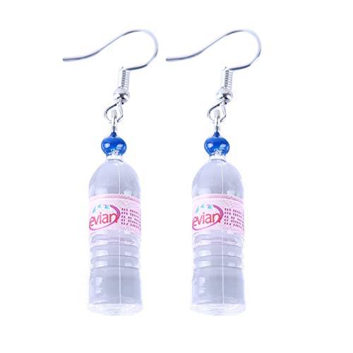 Myhouse Creative Water Bottle Pendant Long Dangle Earrings for Women Girls Charm Accessories, Pink