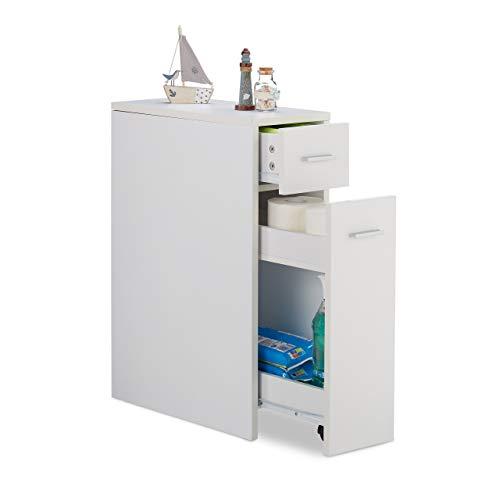 Relaxdays Nischenschrank, 2 Schubladen, für Bad, Küche, Wohnzimmer, platzsparendes Nischenregal, HBT 61,5x20x45 cm, weiß, 1 Stück