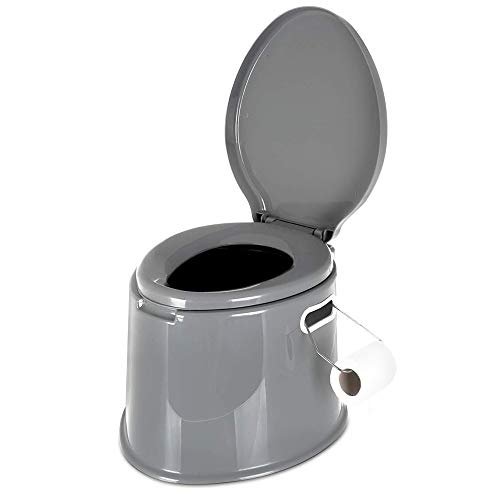 Hillington Lightweight and Portable 5L Camping Toilet with Seat, Lid, Handles and Roll Holder -...
