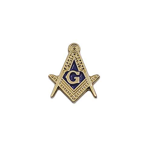 Square & Compass Masonic Lapel Pin - [Gold & Blue][5/8'' Tall]