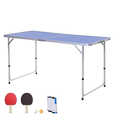 Outsunny Tavolo Pieghevole Multifunzione da Campeggio con Rete da Ping Pong, Altezza Regolabile e Leggero, Blu (160x80x54/62/70cm)
