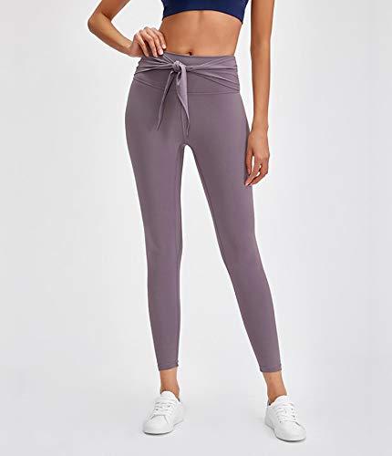 AOZLOVEC Mallas deportivas elásticas para entrenamiento de yoga, mallas deportivas para gimnasio suaves para mujer, pantalones XL-12 IceGray