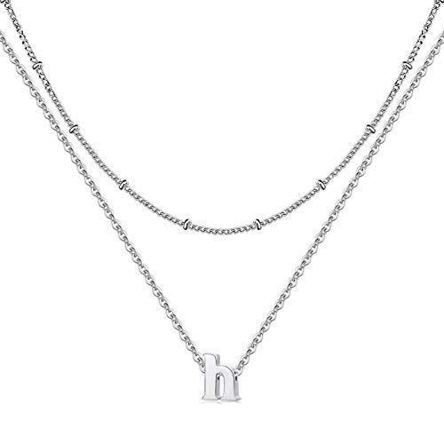 IEFRICH H Initial Necklace for Women, Tiny Silver Lowercase Letter Initial Necklace Alphabet Jewelry for Women