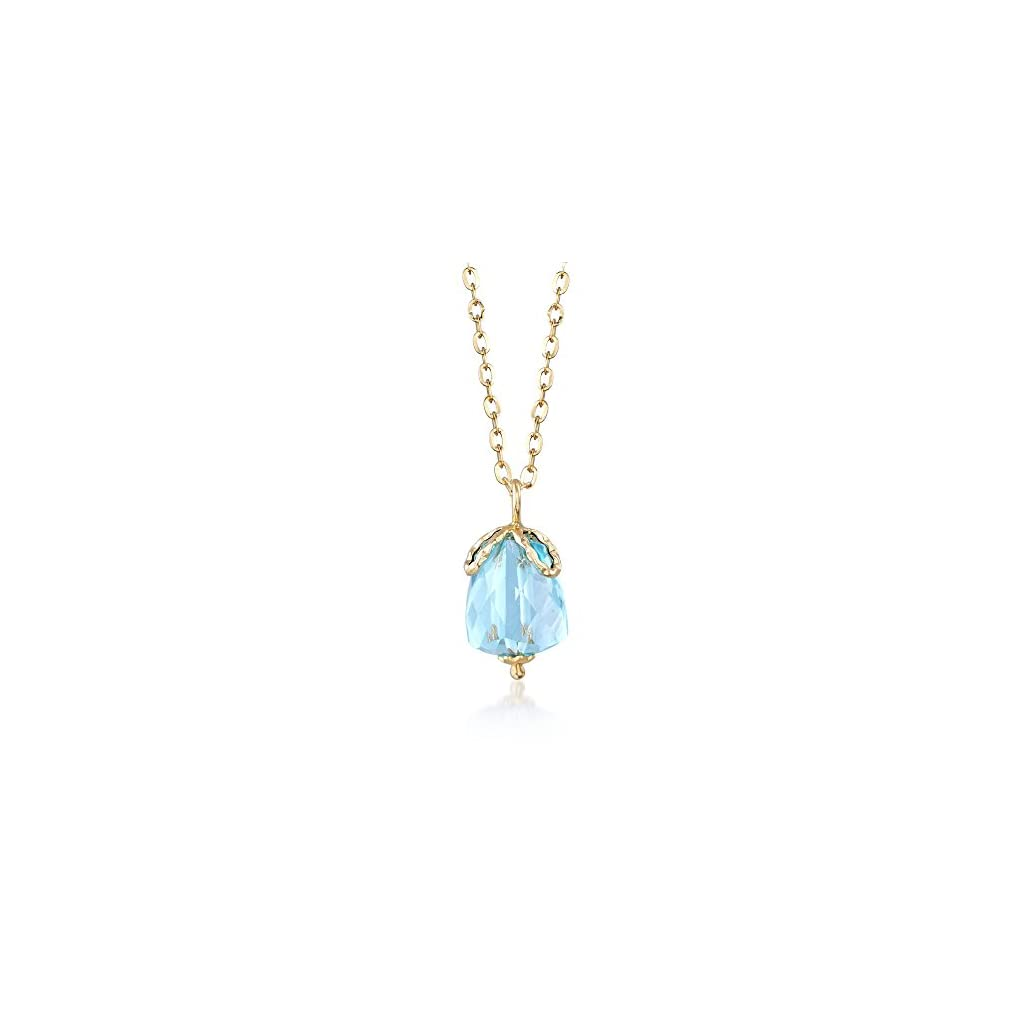 Italian 5.00 Carat Aquamarine Pendant Necklace in 14kt Yellow Gold