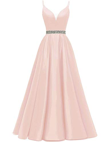 Abendkleider Lang A-Linie Ballkleid Brautkleid Prinzessin Cocktailkleid Satin V-Ausschnitt Partykleid Festkleider Rosa 32
