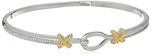 18k Yellow Gold Plated Two Tone Sterling Silver Diamond Accent and Illusion Easy-open Bangle Bracelet, 7.25'
