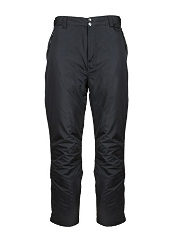 Arctic Quest Mens Water Resistant Insulated Ski & Snow Pants with Pockets, Black, L
