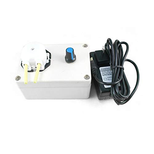 CamKpell DC 12V Dosierpumpe Einstellbare Durchflussrate DC Motor Labor Mini Säure Dosierperistaltikpumpe für Aquarium Lab - Beige