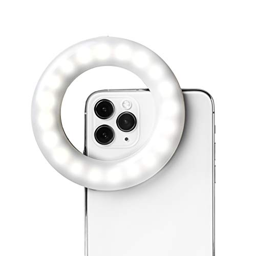 LITTIL Selfie One - Selfie Light Ring Lights LED Circle Light Cell Phone Laptop Camera Photography Video Lighting Clip On Rechargeable Influencers Livestreaming Videos Vlogs Photos in White