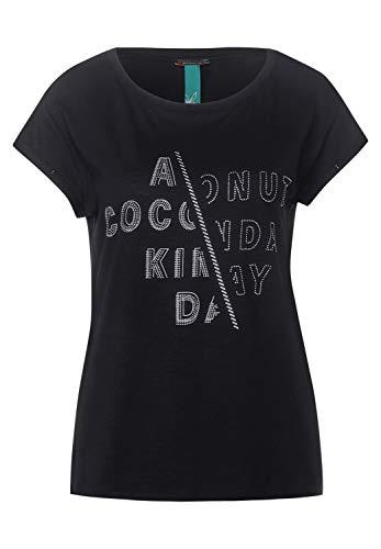 Street One Damen T-Shirt mit Strasssteinen Black 40