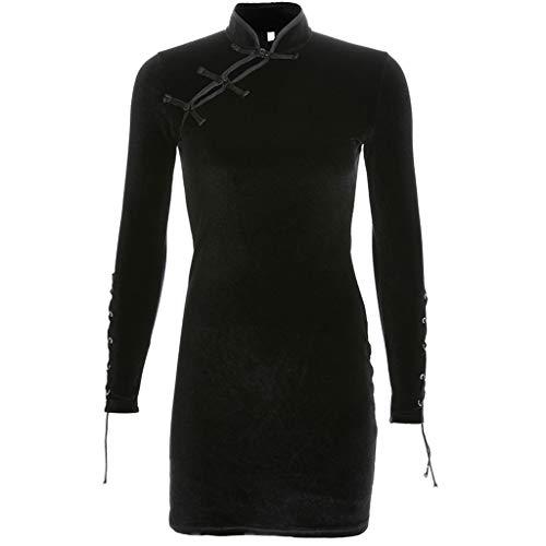 Janly Clearance Sale Vestido de mujer sexy negro liso con cuello alto y botones Cheongsam (negro/M)