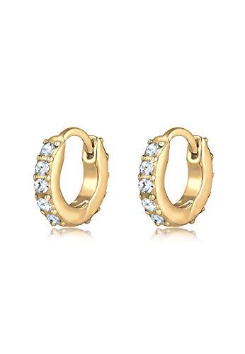 Elli Ohrringe Damen Creolen Elegant Mini Funkelnd mit Swarovski® Kristallen in 925 Sterling Silber