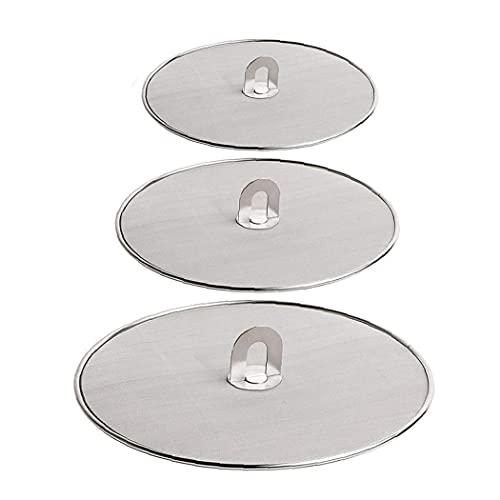 Sanfiyya Frying Pan Cover Splatter Screen Stainless Steel Mesh Guard Oil Proof Shield Protector 33cm 29cm 25cm Pot Lid 3pcs