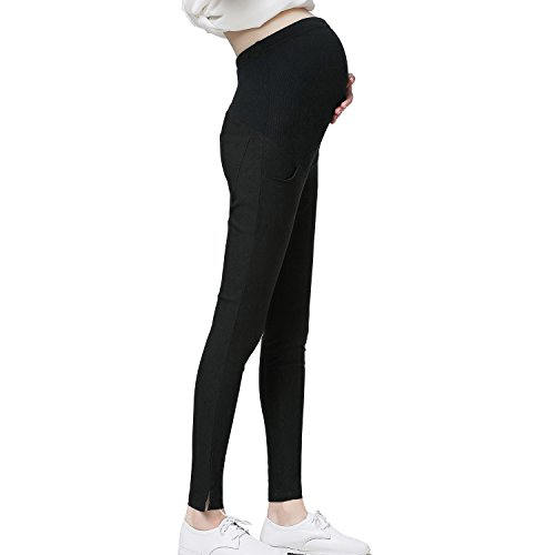 JOYNCLEON Pregnant Women Work Pants Stretchy Maternity Skinny Ankle Trousers Slim for Women (Label XXL = US 12-14 fit for Hip 38.6'', Black)
