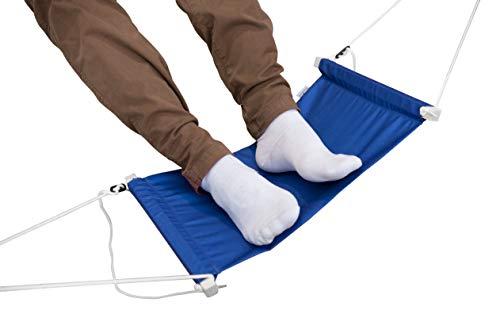 YouRest 27x50cm Fuß Hängematte für Tische bis 180cm - Höhenverstellbare Fußablage zur Entspannung am Schreibtisch - Extra breite Fußstütze zur Entlastung (Blau)