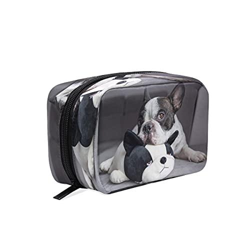BOLOL - Bolsa de maquillaje con diseño de bulldog francés para cosméticos, bolsa de viaje grande para mujeres y niñas, organizador portátil, bolsa de almacenamiento