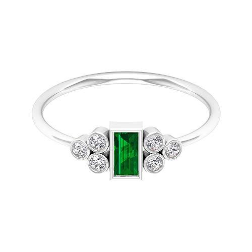 Anillo solitario de esmeralda de corte baguette de 2,5 x 5 mm, anillo de diamante HI-SI, anillo de bisel de oro (calidad AAA), 14K Oro blanco, Size:EU 58