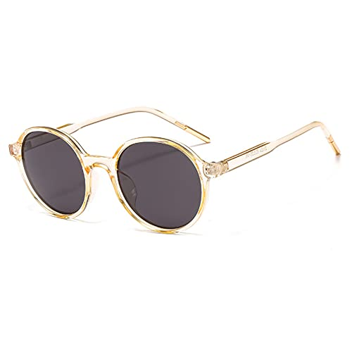 BAJIE Gafas de Sol Trendy Net Red Gafas de Sol Uv400 Gafas de Sol de Moda de Cara Redonda Gafas de Sol Redondas para Mujer