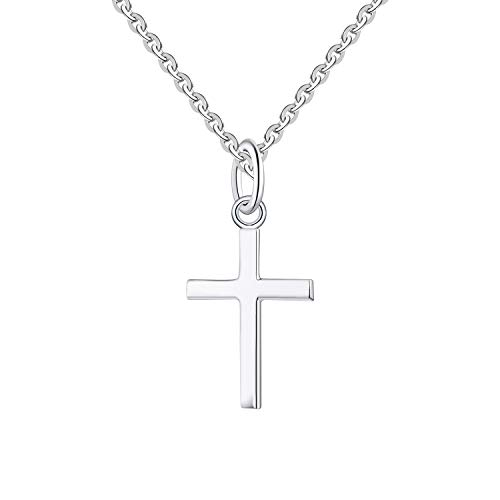 FJ Collar con colgante de cruz de plata de ley 925 con cadena de 20