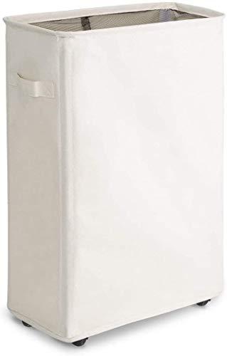 WOWLIVE Cesto para la Colada Delgada sobre Rueda Práctica asa Plegable Cesta de lavandería Rectangular Impermeable colector de Ropa para el hogar clasificador de lavadero(Blanco)