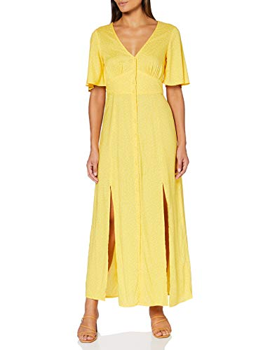 Miss Selfridge Yellow Sophie Spot Print Button Through Maxi Dress Vestito Casual, orche, 10 Donna