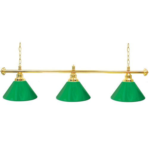 "Trademark Gameroom Green Three Shade Gameroom Lamp, 60"" (Gold Hardware)"