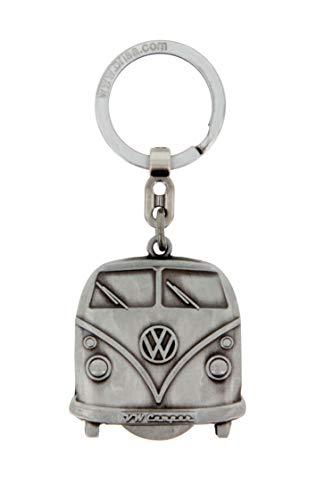 BRISA VW Collection - Volkswagen T1 Bulli Bus Schlüssel-Anhänger mit Einkaufswagenchip in Geschenkdose, Geschenk-Idee/Fan-Souvenir/Retro-Vintage-Artikel (Antiksilberoptik)