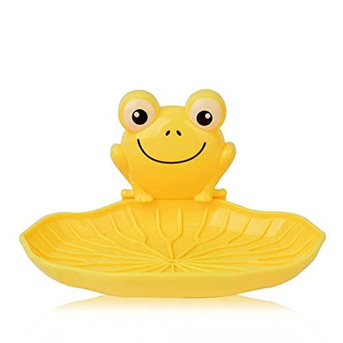 LWLEI Jabonera Plástico de plástico Montado en la Pared Forma JAPE Caja de Almacenamiento de jabón con Ventosa Taza de baño para niños Soporte de jabón de Ducha, Amarillo Song