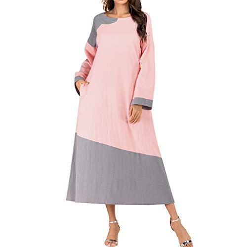Manga Larga Vestido de Playa con Dobladillo Holgado Cuello en V Vestido de Bata de Kaftan SMILEQ Vestido Maxi para Mujer