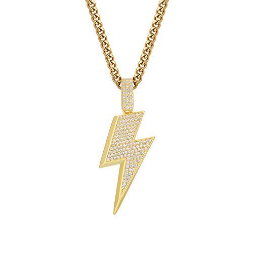 KRKC&CO Collana con flash Iced Out, Cuban Link con ciondolo Iced Out, placcata in oro bianco 18 K, con ciondolo a forma di flash, in argento, per uomo e Ottone